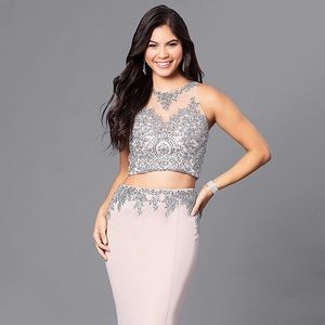 DAVE AND JOHNNY - EMBROIDERED 2-PC JERSEY GOWN